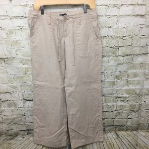 Gap Beige Linen Wide Leg Pants L19